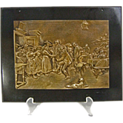 Tyrolean Tavern Scene Bronze Plaque
