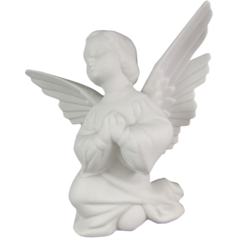 Boehm Pure White Bisque Porcelain Kneeling Girl Angel