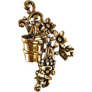 Crown Trifari A. Philippe Flower Pot Fur Clip