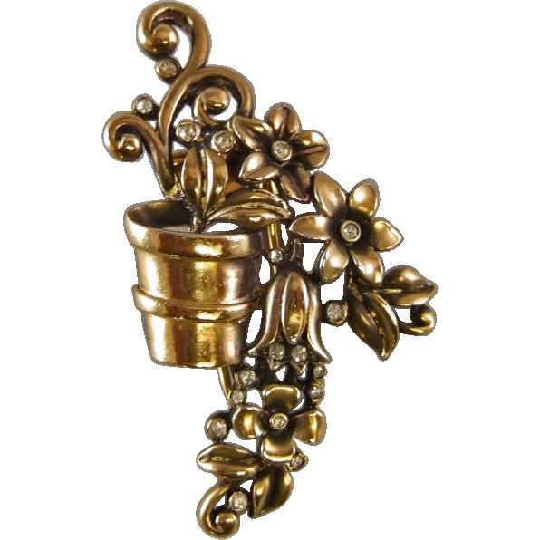 Crown Trifari A. Philippe Flower Pot Fur Clip