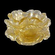Venetian Murano Glass Floriform Finger Bowl Cordonato d' Oro