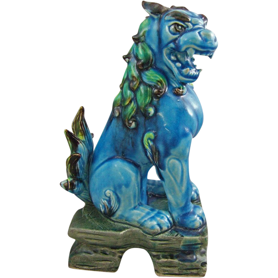 Mid Century Drip Glaze Ceramic Foo Dog