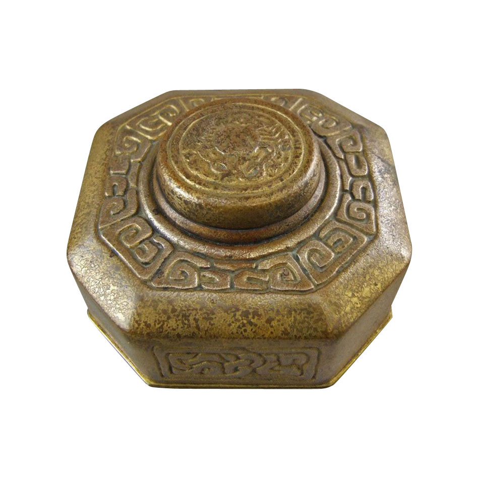 Tiffany Studios New York Gold Dore Bronze Zodiac Inkwell 842