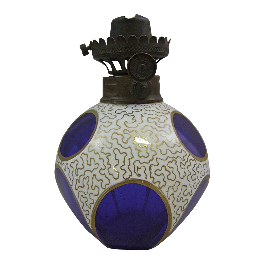 Antique Cobalt Blue Miniature Glass Lamp with Gold Vermicular Decoration on White Overlay