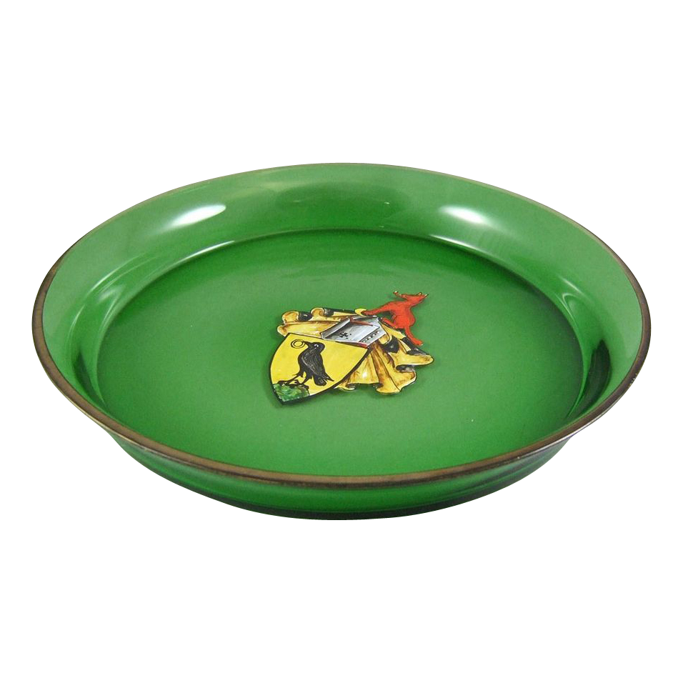 Antique Armorial Bohemian Glass Crow & Wolf Heraldic Coat of Arms Circular Tray - NOW 20% OFF