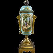 Antique French Porcelain Bronze Mounts Sevres Blue Porcelain Urn the Falconer