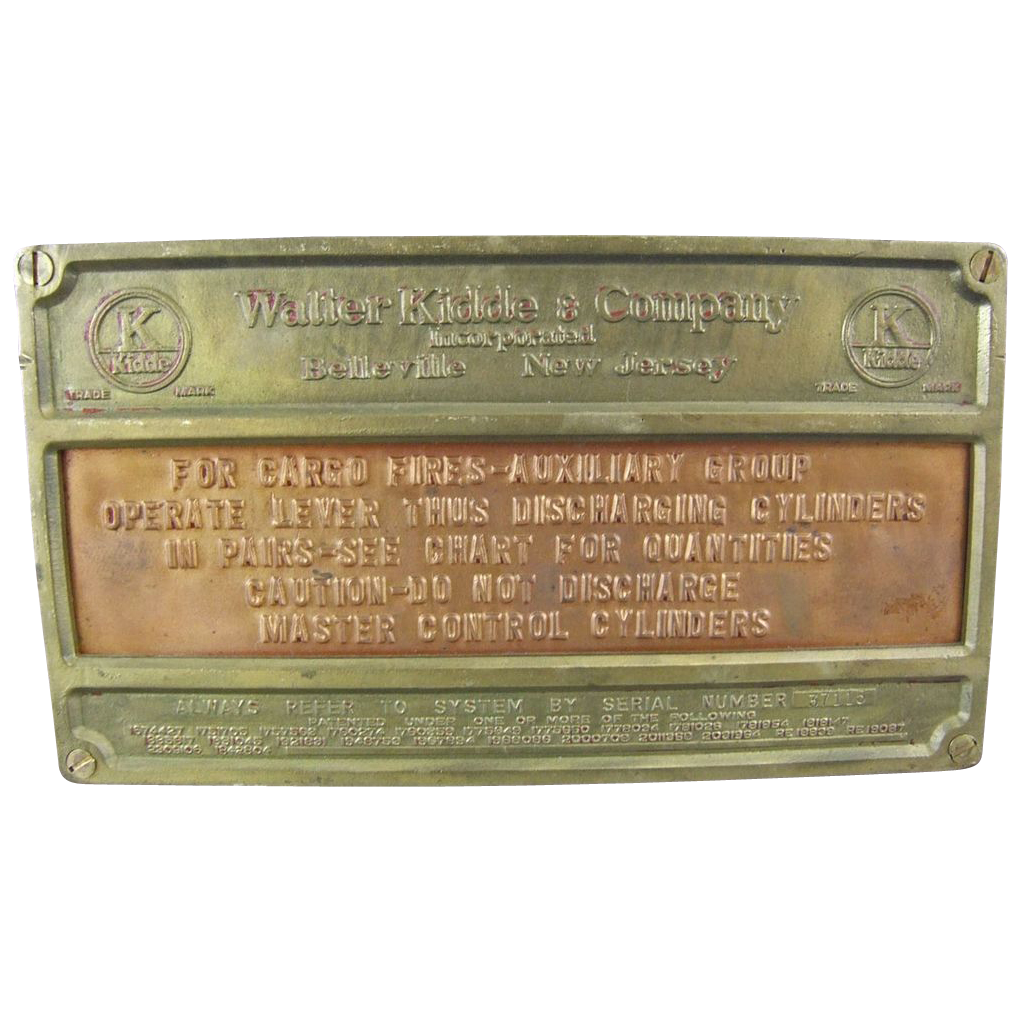 Walter Kidde & Company Instructional Bronze Plaque for Cargo Fire Ship or Airplane
