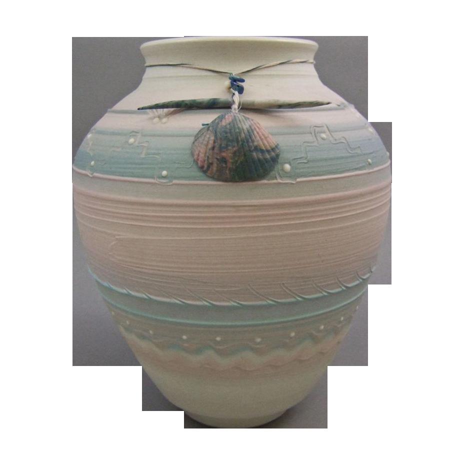 Debra Swauger Southwestern Porcelain Clay Pueblo Vase with Fetish
