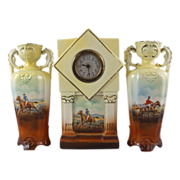 Czechoslovakia Ceramic Hunter Jumper Clock Garniture Set