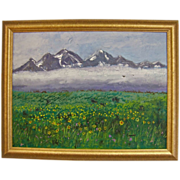 Mountains and Blooming Meadow Impasto Impressionist Oil on Canvas