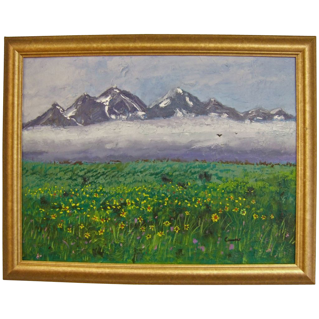 Impressionist Oil on Canvas Grand Tetons Mountains and Blooming Meadow Impasto