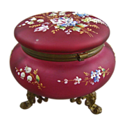 Large Victorian Ruby Gold Glass Dresser Box Jewel Casket with  Enamel Paste Flowers