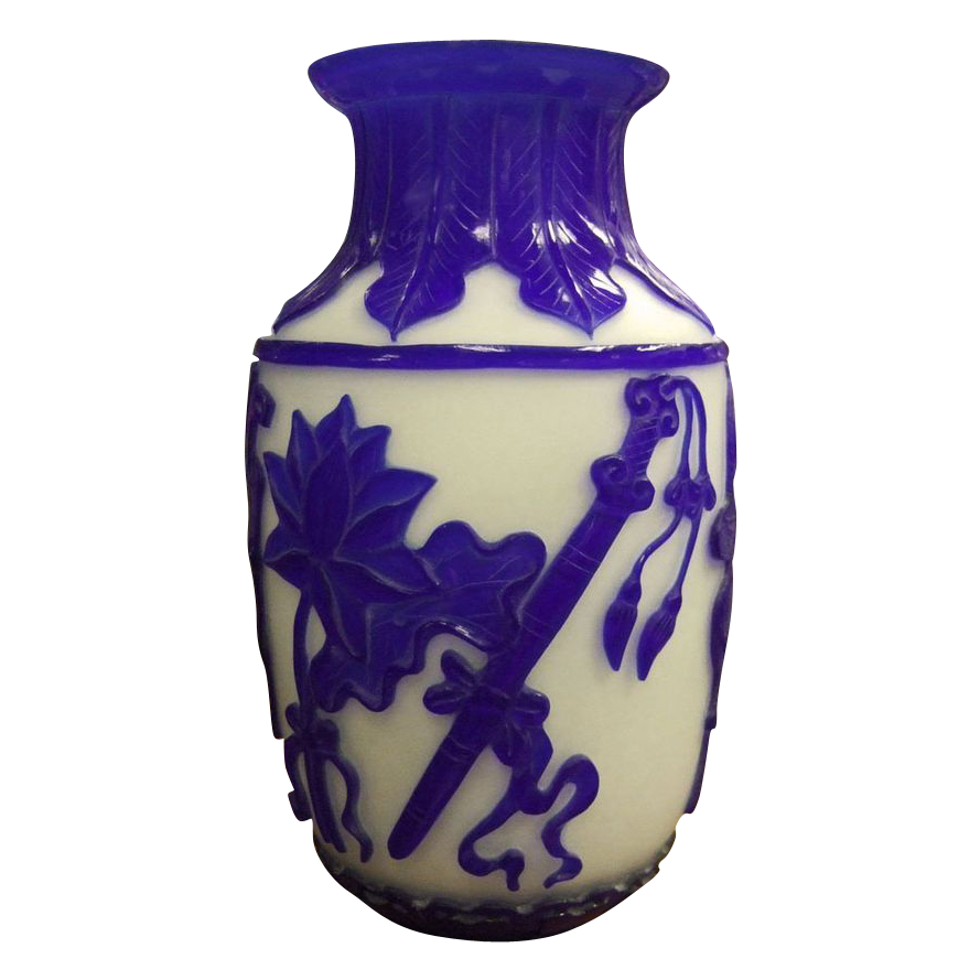 Chinese Peking Cobalt Glass Cameo Vase with Eight Immortals