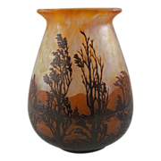 Daum Nancy Scenic French Cameo Glass Vase 9""