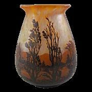 "Daum Nancy Scenic French Cameo Glass Vase 9"""