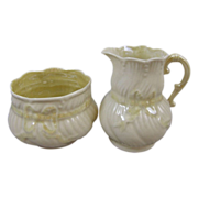 Belleek Irish Porcelain Ribbon Pattern Creamer & Sugar Set