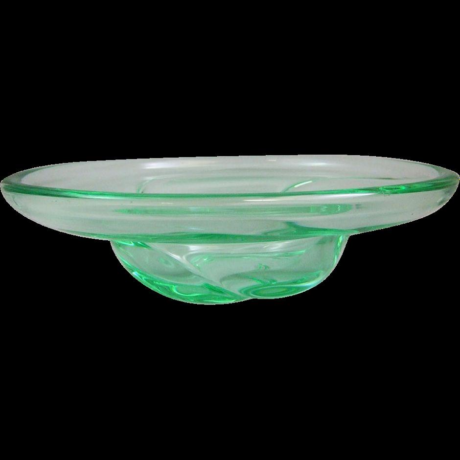 Daum Nancy France Mid Century Modern Heavy Crystal Glass Center Bowl