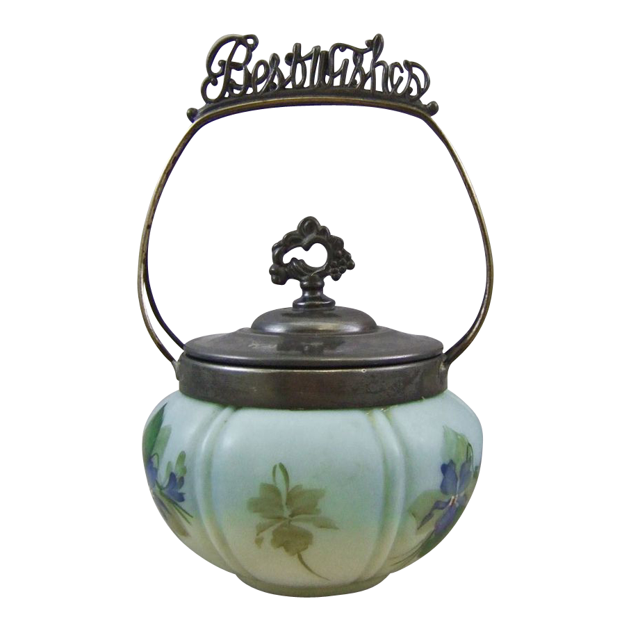 "Victorian Opal Glass Cracker or Biscuit Jar ""Best Wishes"""