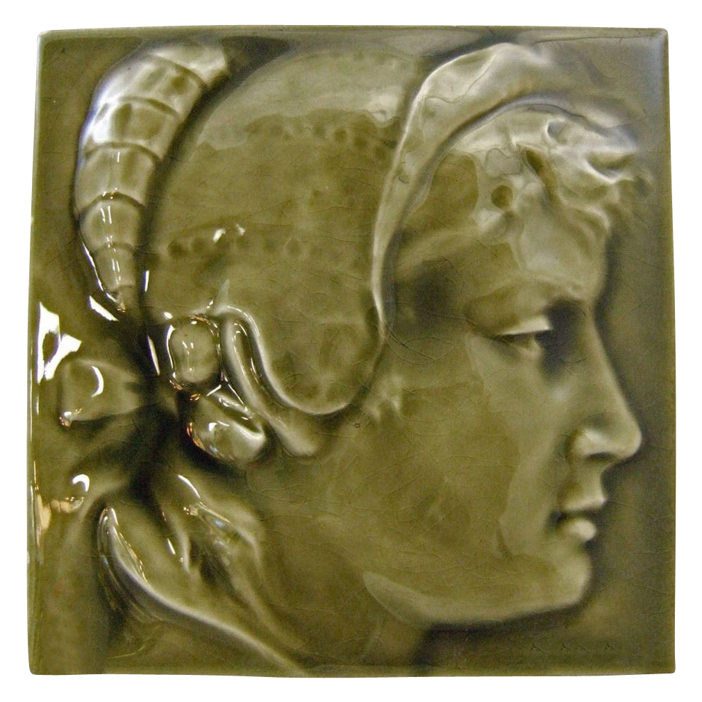 "American Encaustic Tiling Company AET Co. 6"" High Glaze Relief Molded Portrait Tile"