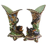 Antique Majolica Faience Mantle Vases with Sea Serpent Dolphins