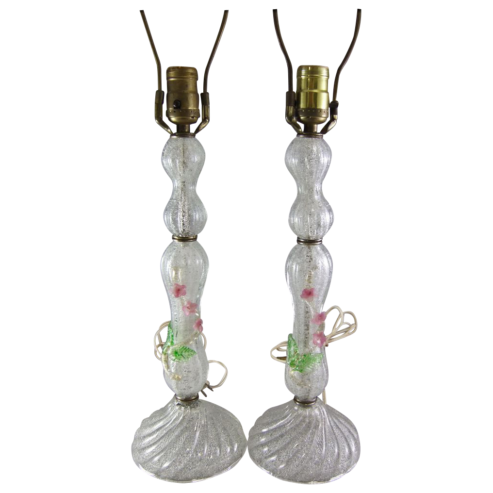 Murano Italian Mid-Century Overshot Glass Lamp Pair with Applied Flowers