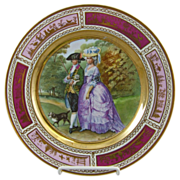 Fischer & Mieg Vienna Style Porcelain Cabinet Plate with Gainsborough Decoration