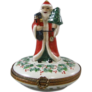 Limoges France Porcelain Box Christmas Decoration Peint Main Santa Claus