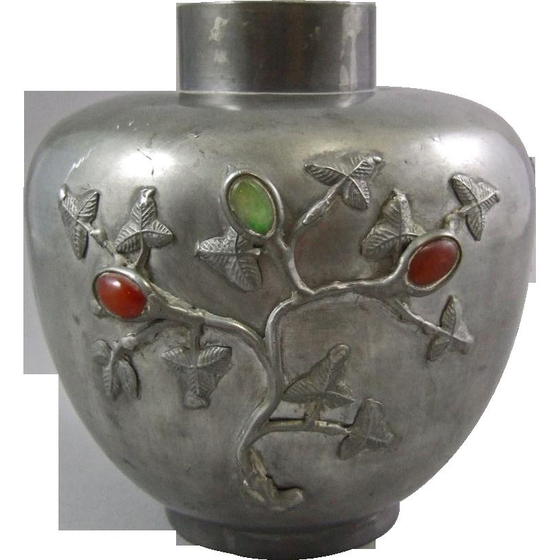 Chinese Pewter Mounted Cabochon Hardstone Vase