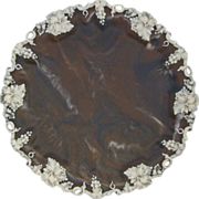Incolay Stone 11.75 diameter Circular Tray  or Wall Charger with Grapevine Décor