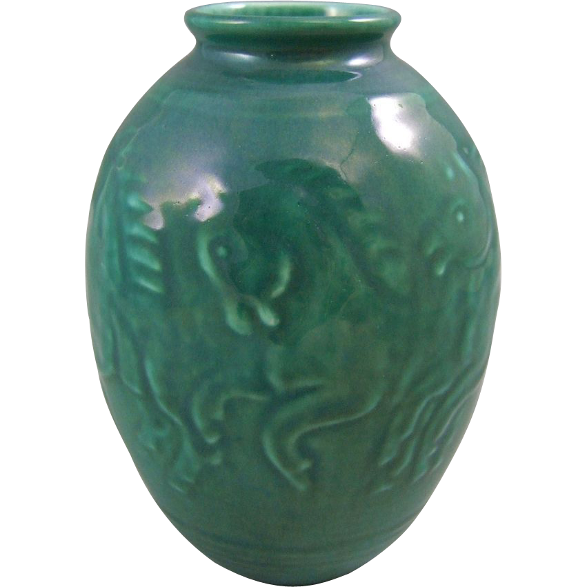 Rookwood Pottery Mid Century High Glaze Sea Green Vase with Running Horses