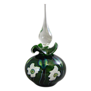 Charles Lotton 1995 Green Aventurine Multi Flora Art Glass Perfume Bottle