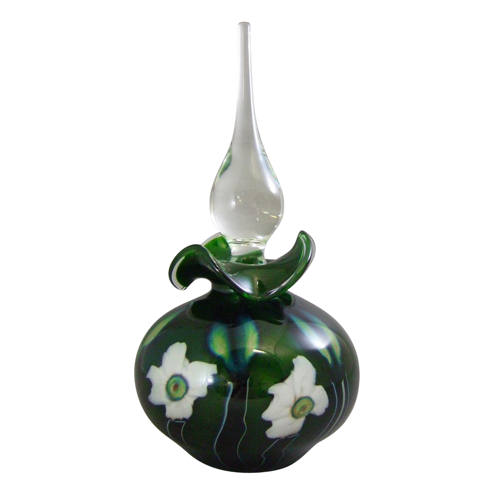 Charles Lotton 1995 Green Aventurine Multi Flora Art Glass Perfume Bottle