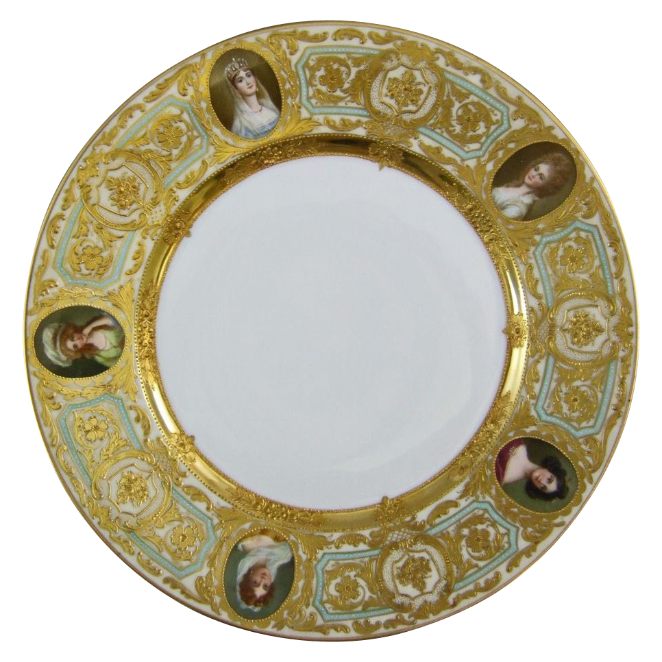 Antique German Dresden Porcelain Cabinet Plate with Five Portraits Depicting Ladies of the Royal Court