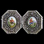 Doris Cuernavaca Mexico Silver Clip Brooch with Hand Painted Porcelain Plaques & Marcasite