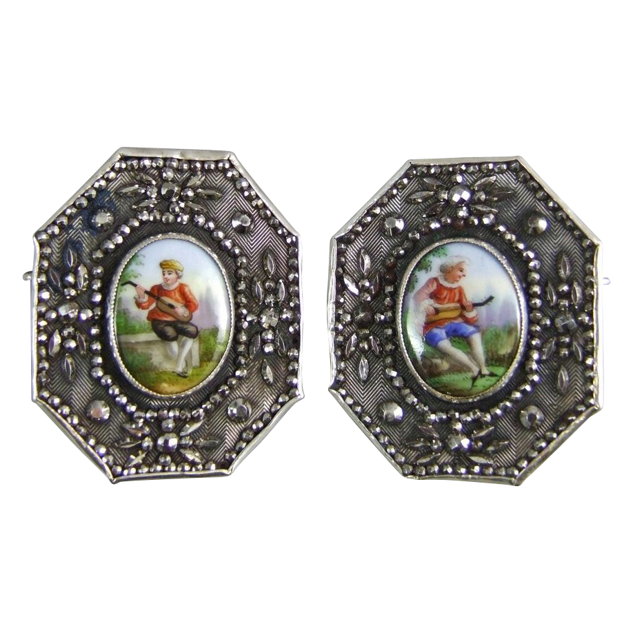 Doris Cuernavaca Mexico Silver Clip Brooch with Hand Painted Porcelain Plaques & Marcasite