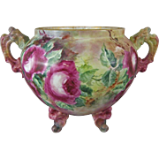"Limoges France Porcelain Delinieres & Co.  Jardiniere with Hand Painted Roses, 10.25"" Tall"