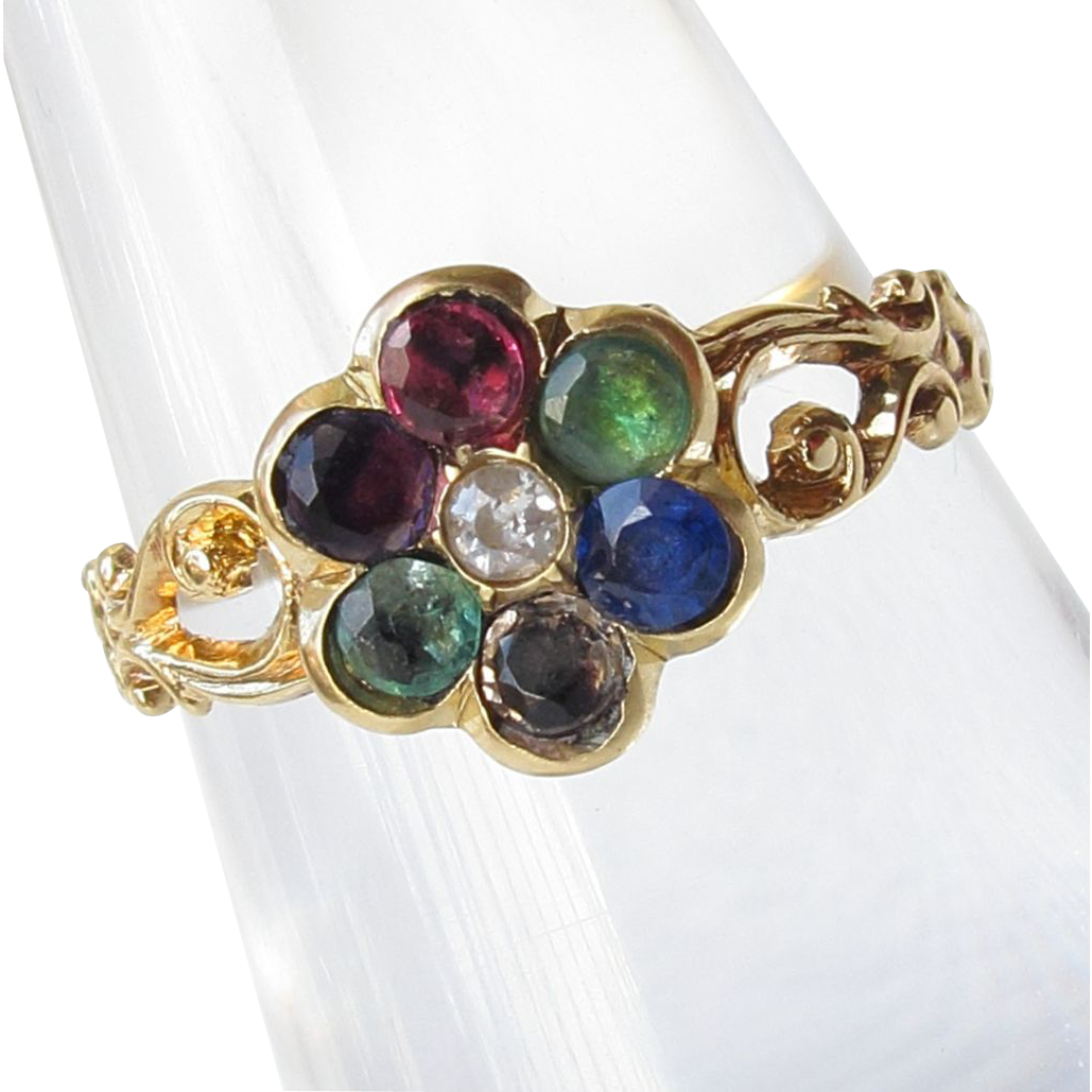 georgian 18ct gold dearest ring antique emerald