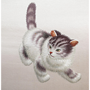 Chinese Cat Kitten Embroidery - Red Tag Sale Item