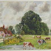 Edward Walker Watercolour Watercolor Cows Cattle Cottage  England Very Listed Artist Hertfordshire Painting