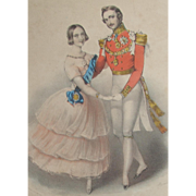 Queen Victorian & Prince Albert Dancing Hand Coloured Colored Lithograph c. 1840s