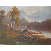 F Hider 1861-1933 Oil on Canvas In Borrowdale Westmoreland Lake District Well Listed Artist Antique