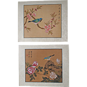 Pair mid 20th Century Chinese Paintings Birds Flowers