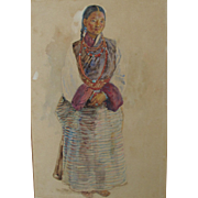 Antique Watercolor of a Lady in Tibetan Costume by much listed artist Walter Duncan Watercolour Ethnographic