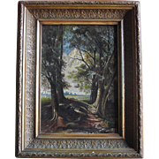 Antique Oil on Canvas English School - Lady in Woodland River Wood c.1850s/60s