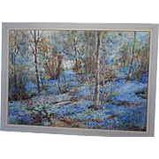 Large Antique English Watercolour Watercolor Eva Marsh c.1900 Bluebell Wood Pastoral Bluebells Spring Impressionistic