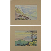 Pair Asian Indian Watercolours Watercolors by well Listed Asian Indian Artist Paul Raj 1913-1979