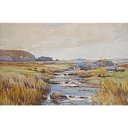 English Riverscape By Listed Artist Samuel Warburton 1874-1938 Watercolour Watercolor