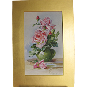 Antique English Watercolour Watercolor of Roses in Original Gold Leaf Mount 1907 Atkins