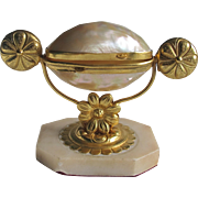 Antique Palais Royale  MOP Mother of Pearl Egg in Gilt Metal Ormolu