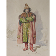 Antique Watercolour Watercolor of a Russian Nobleman by de la P Riviera